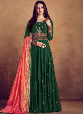 Snazzy Embroidered Readymade Anarkali Suit