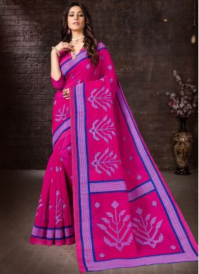 Snazzy Printed Cotton Casual Saree