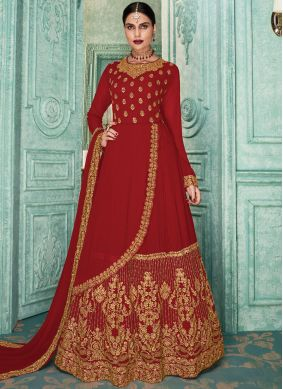 Sonorous Embroidered Georgette Red Salwar Kameez