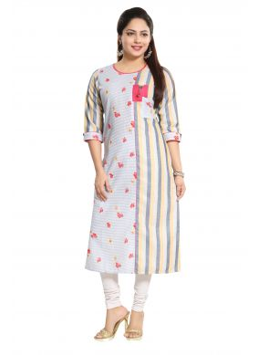 Sophisticated Printed Cotton Blue Casual Kurti