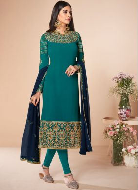 Sophisticated Sea Green Embroidered Georgette Salwar Suit