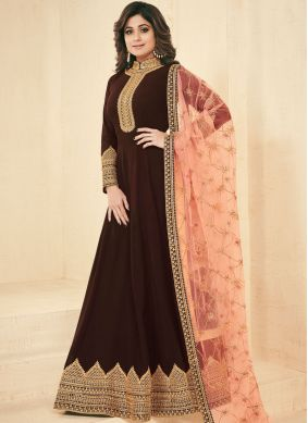 Sophisticated Zari Shamita Shetty Faux Georgette Floor Length Anarkali Suit