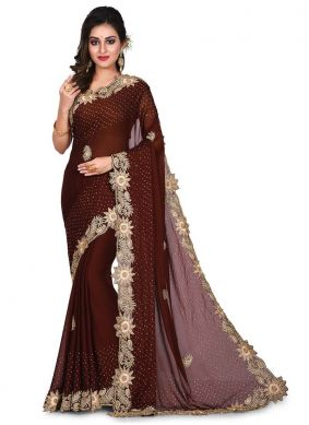 Sorcerous Black Georgette Designer Traditional Saree