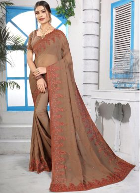 Sorcerous Brown Embroidered Classic Saree