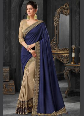 Sorcerous Embroidered Blue Designer Traditional Saree