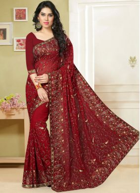 Sparkling Red Embroidered Classic Saree