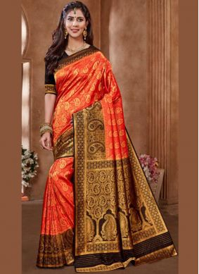 Specialised Embroidered Art Silk Red Designer Traditional Saree