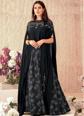 Specialised Embroidered Lycra Black A Line Lehenga Choli