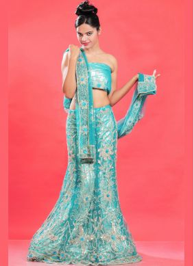 Specialised Net Blue Fancy Lehenga Choli
