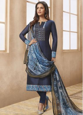 Specialised Print Chanderi Navy Blue Designer Straight Suit