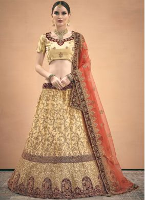 Specialised Satin Thread Work Beige A Line Lehenga Choli