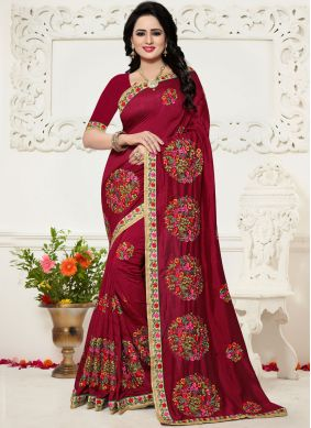 Spectacular Maroon Silk Saree