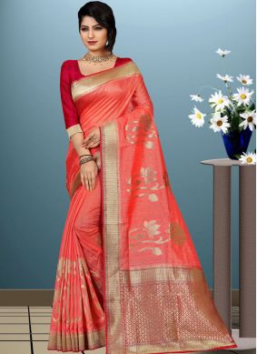 Spectacular Peach Art Silk Traditional Designer Saree