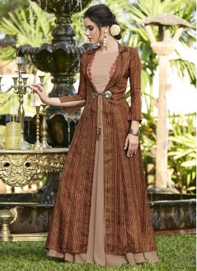 Spectacular Print Brown Designer Gown