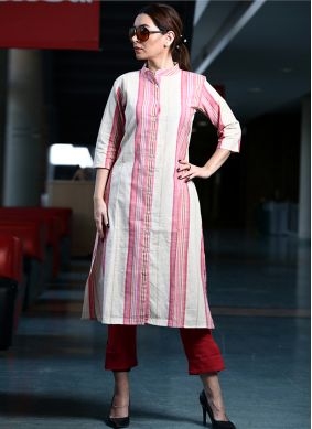 Spectacular Printed Cotton Pink Party Wear Kurti