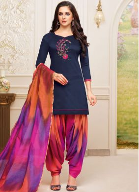 Spellbinding Art Silk Blue Embroidered Designer Patiala Suit