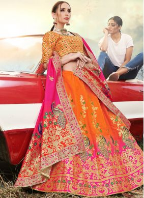 Spellbinding Banarasi Silk Embroidered Orange Trendy A Line Lehenga Choli
