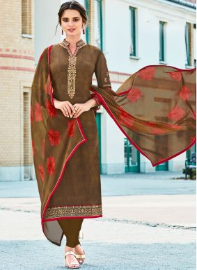 Spellbinding Brown Festival Churidar Designer Suit