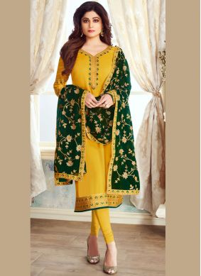 Spellbinding Embroidered Georgette Satin Yellow Churidar Designer Suit