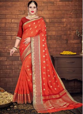 Spellbinding Orange Casual Saree