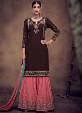 Splendid Embroidered Black Palazzo Designer Salwar Kameez