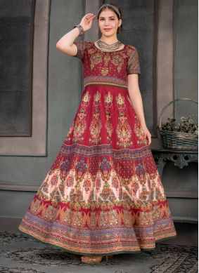 Splendid Print Multi Colour Fancy Fabric Designer Gown
