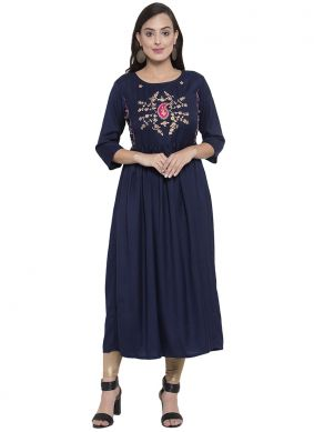 Splendid Printed Rayon Party Wear Kurti