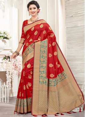 Staggering Weaving Red Art Silk Traditional Designer Saree