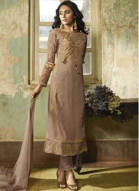 Staring Faux Georgette Embroidered Churidar Designer Suit