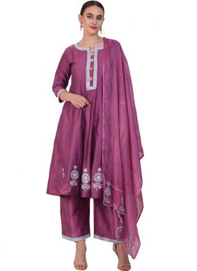 Staring Resham Poly Silk Purple Designer Suit