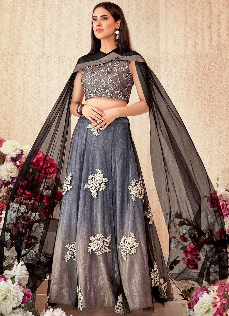 Sterling Beige and Grey Party Trendy A Line Lehenga Choli