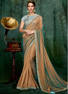 Sterling Blue and Brown Shaded Saree