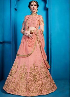 Sterling Embroidered Art Silk Peach Designer Lehenga Choli