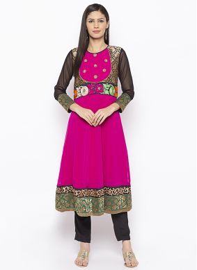 Sterling Georgette Peach Weaving Designer Kurti
