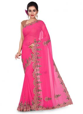 Sterling Georgette Rani Embroidered Designer Traditional Saree