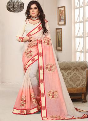 Sterling Pink Embroidered Trendy Saree