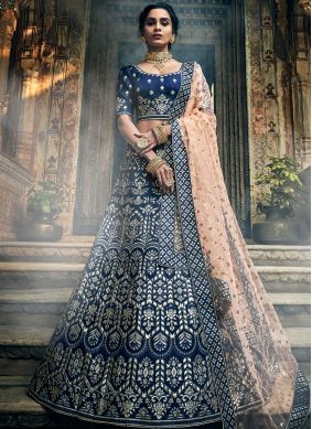 Sterling Thread Blue A Line Lehenga Choli