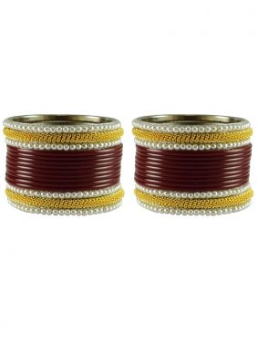 Stone Work Bangles in Gold and Maroon