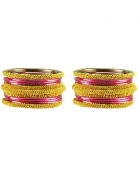 Stone Work Bangles in Pink