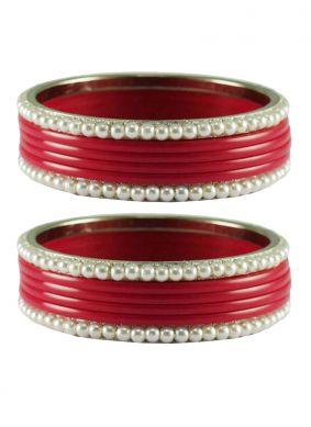 Stone Work Bangles in Red
