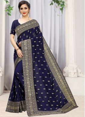 Stone Work Blue Trendy Saree