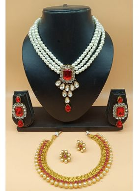 Stone Work Jewellery Set in Red