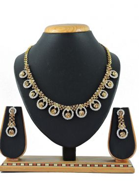 Stone Work Necklace Set in White