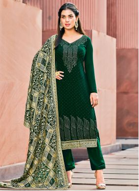 Green Georgette Stone Work Pant Style Suit