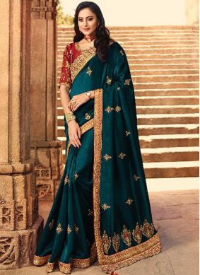 Stone Work Silk Silk Saree in Teal