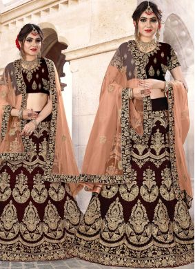 Strange Velvet Brown Embroidered Lehenga Choli