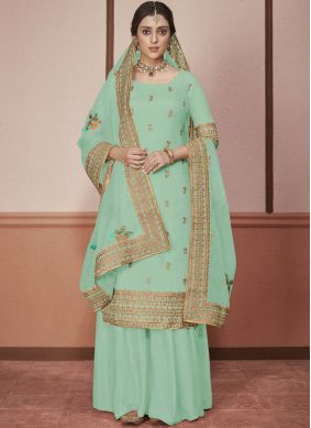 Striking Embroidered Silk Green Churidar Salwar Kameez
