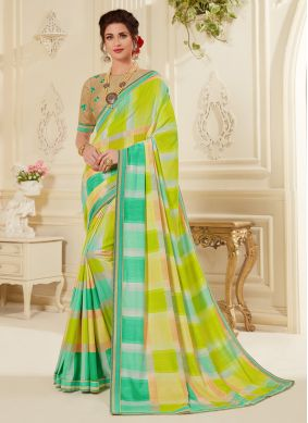 Striking Multi Colour Abstract Print Printed Saree