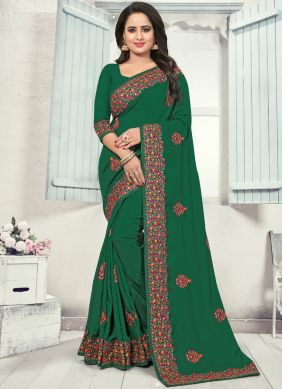 Striking Silk Stone Work Green Silk Saree