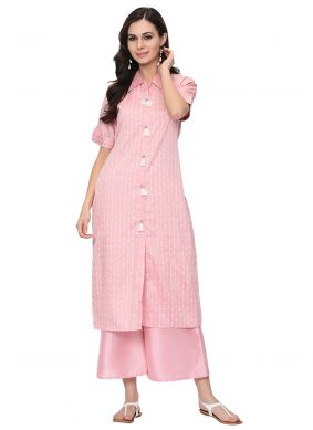 Stripe Print Poly Silk Party Wear Kurti in Pink
